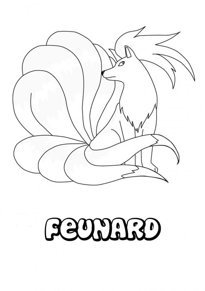 Coloriage pok mon feunard dessin gratuit imprimer - Dessin de pokemon facile ...