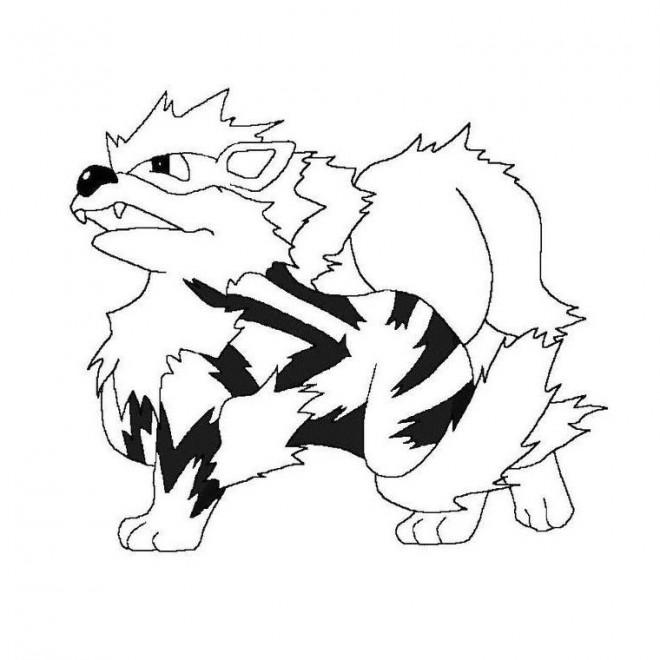 Coloriage et dessins gratuits Pokémon Growlithe à imprimer