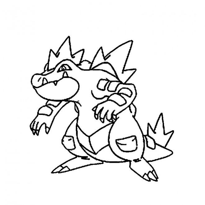 Coloriage Pokemon Kaiminus Crocodile Dessin Gratuit A Imprimer