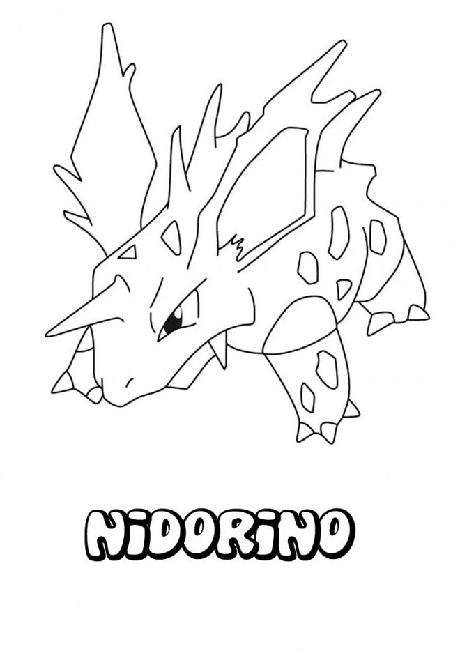 Coloriage et dessins gratuits Pokémon Nidorino en couleur à imprimer