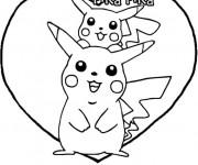 Coloriage et dessins gratuit Pokémon Pikachu mignon à imprimer