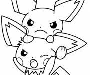 Coloriage et dessins gratuit Pokémon Pikachu semble en colère à imprimer