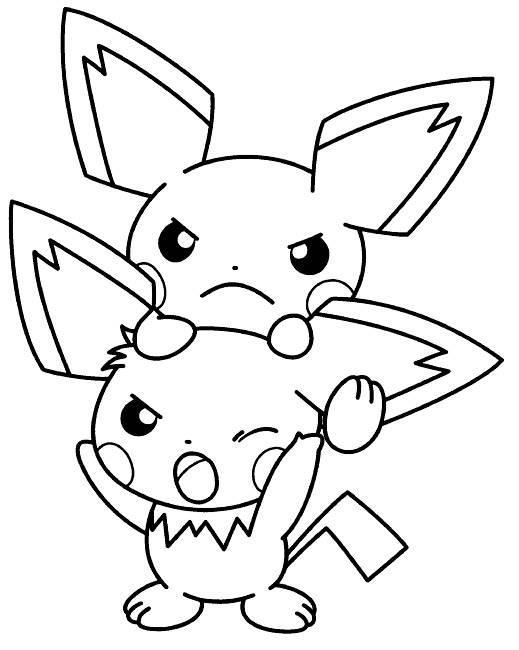 Coloriage et dessins gratuits Pokémon Pikachu semble en colère à imprimer