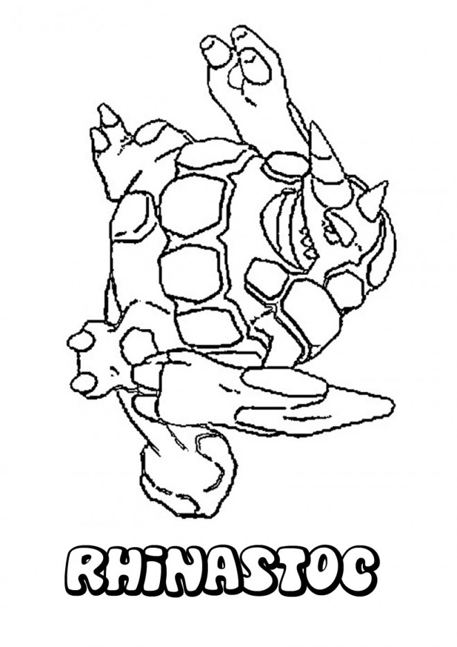 Coloriage et dessins gratuits Pokémon Rhinastoc facile à imprimer