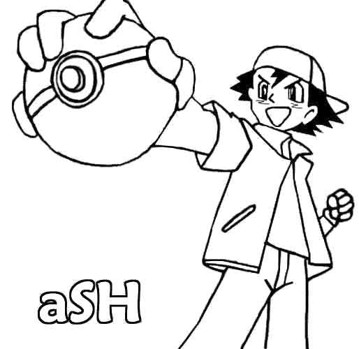 Coloriage et dessins gratuits Pokémon Sacha enfant à imprimer