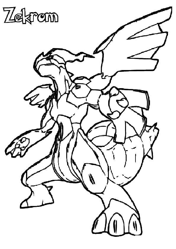 Coloriage et dessins gratuits Pokemon Zekrom en ligne à imprimer