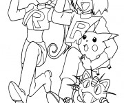 Coloriage Team Rocket et Pikachu