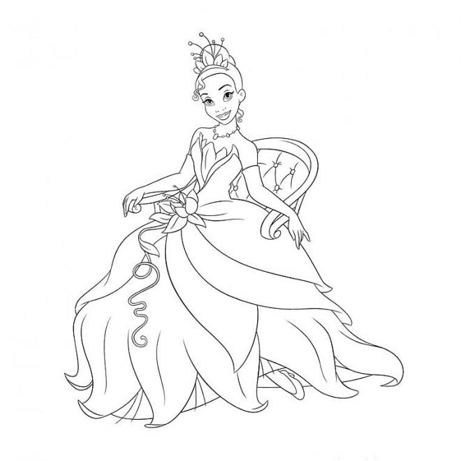 Coloriage et dessins gratuits Princesse sur chaise à imprimer