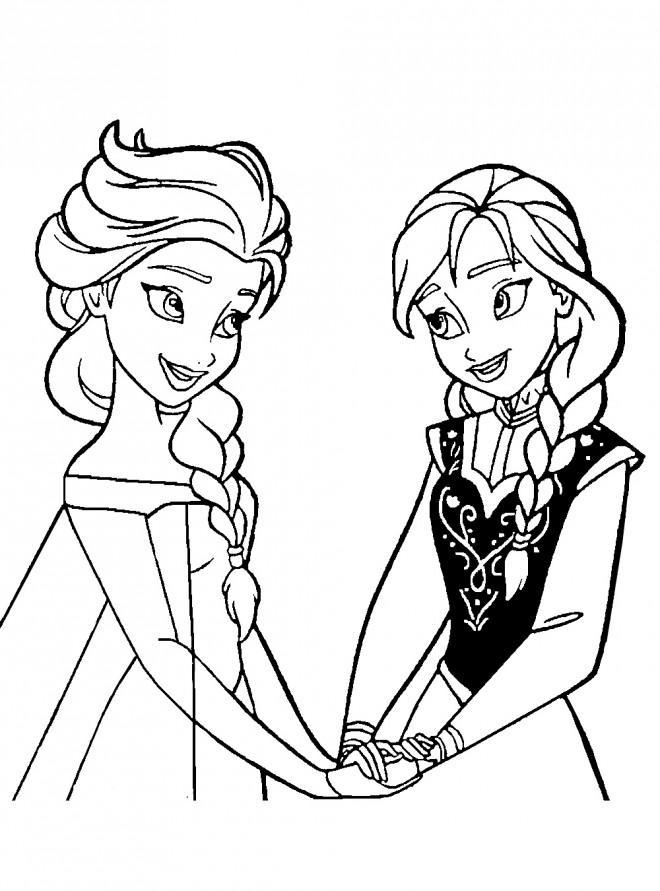 Coloriage Elsa Et Anna Complices Dessin Gratuit à Imprimer