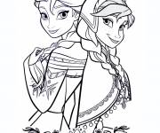 Coloriage et dessins gratuit Elsa et Anna unis à imprimer