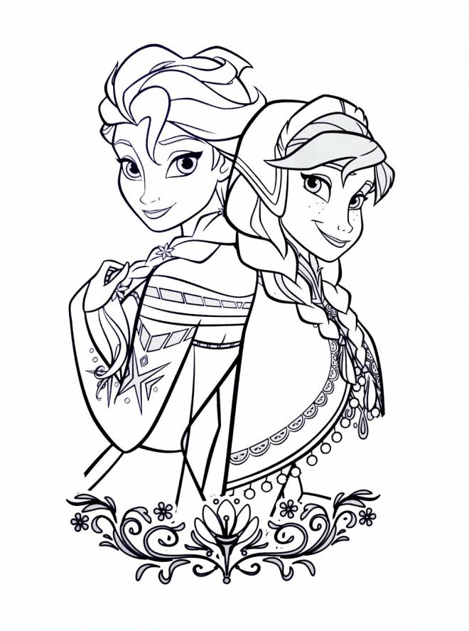 Coloriage et dessins gratuits Elsa et Anna unis à imprimer