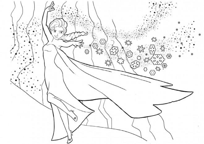 Coloriage Elsa Et La Neige Dessin Gratuit A Imprimer