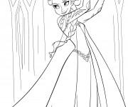 Coloriage et dessins gratuit Elsa Reine des Neiges à imprimer