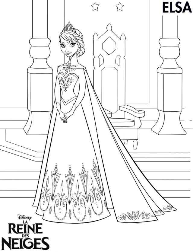 Coloriage Elsa Reine Des Neiges à Télécharger