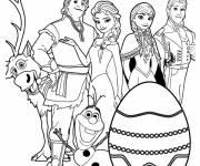 Coloriage Joyeuses Pâques  de la Reine des Neiges