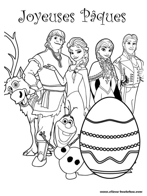 Coloriage et dessins gratuits Joyeuses Pâques  de la Reine des Neiges à imprimer