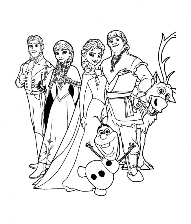 Coloriage La Famille De La Reine Des Neiges Dessin Gratuit A Imprimer