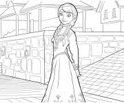 Coloriage Reine des Neiges Anna en ville