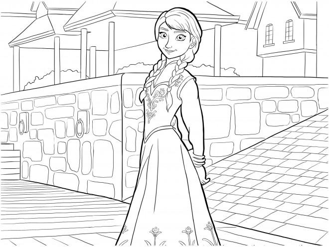 Coloriage et dessins gratuits Reine des Neiges Anna en ville à imprimer
