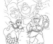 Coloriage Reine des Neiges Anna et Christophe