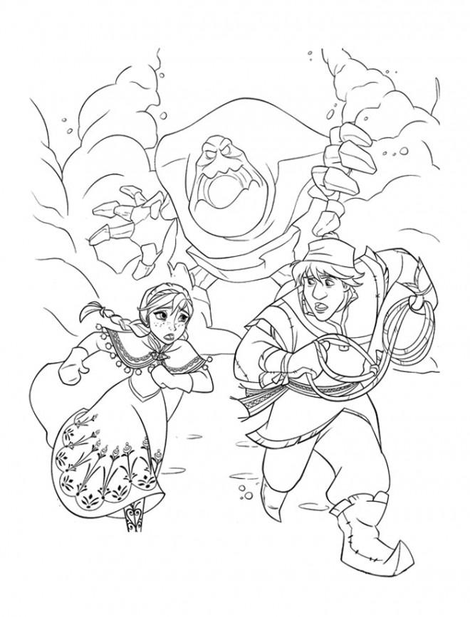 Coloriage et dessins gratuits Reine des Neiges Anna et Christophe à imprimer