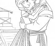 Coloriage Reine des Neiges Anna et Christophe amoureux