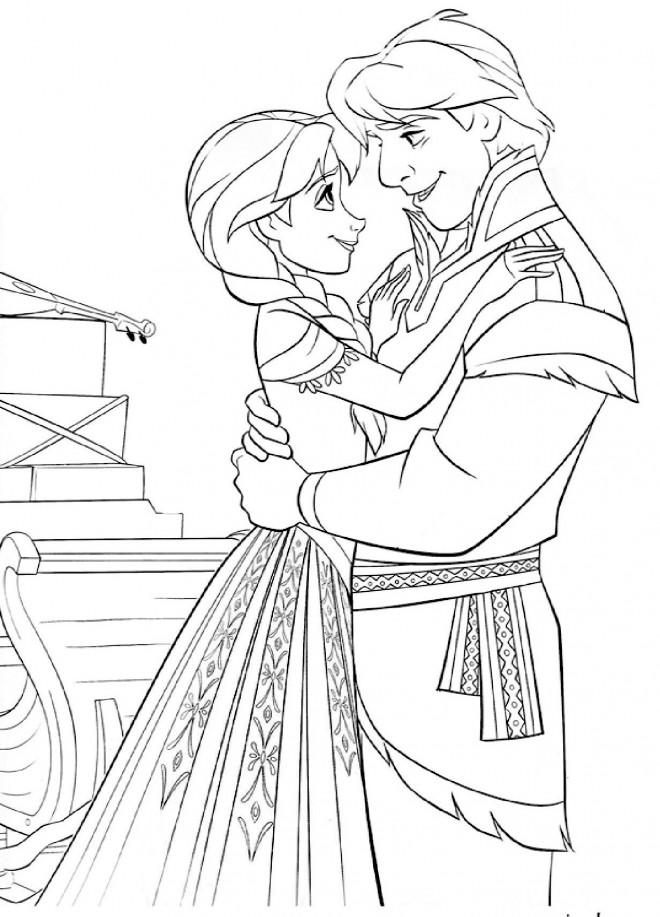 Coloriage et dessins gratuits Reine des Neiges Anna et Christophe amoureux à imprimer