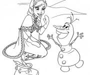 Coloriage Reine des Neiges Anna et Olaf en ligne