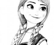 Coloriage Reine des Neiges Anna facile