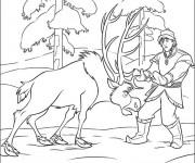 Coloriage Reine des Neiges Christophe et Sven