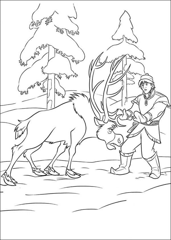 Coloriage et dessins gratuits Reine des Neiges Christophe et Sven à imprimer