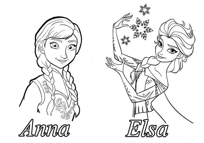 Coloriage et dessins gratuits Reine des Neiges Deux Belles Soeurs à imprimer