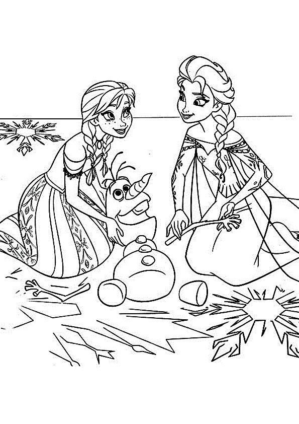 Coloriage Reine Des Neiges Elsa Anna Et Olaf Dessin Gratuit à Imprimer