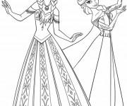 Coloriage et dessins gratuit Reine des Neiges Elsa et Anna en ligne à imprimer