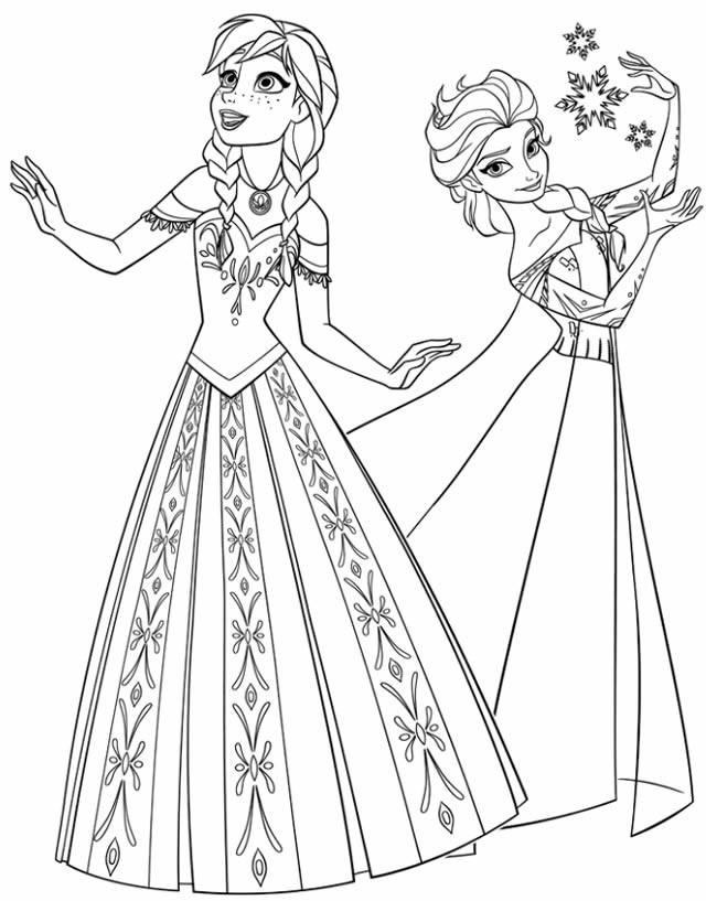 Coloriage Reine Des Neiges Elsa Et Anna En Ligne Dessin Gratuit à