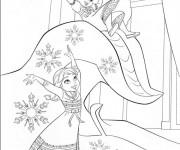 Coloriage Reine des Neiges Elsa et Anna s'amusent ensemble