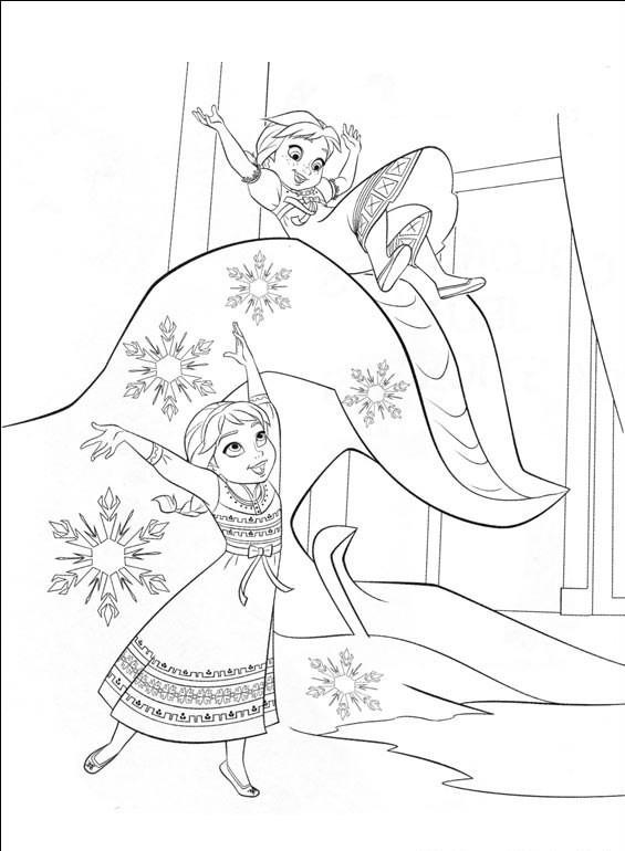 Coloriage Reine Des Neiges Elsa Et Anna Samusent Ensemble