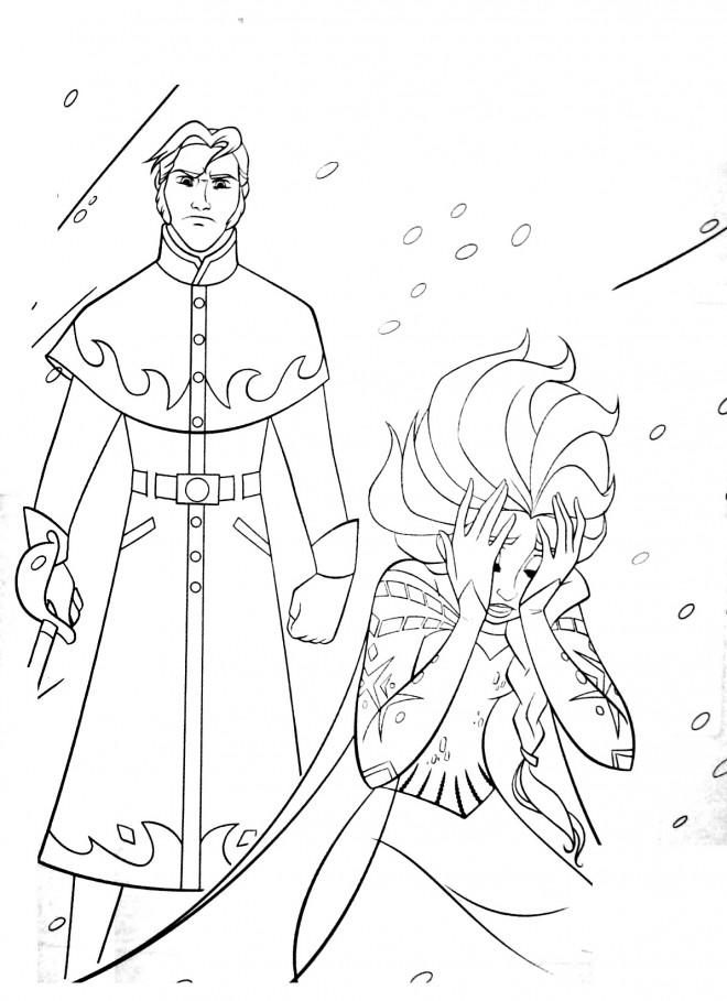 Coloriage et dessins gratuits Reine des Neiges Elsa vulnérable à imprimer