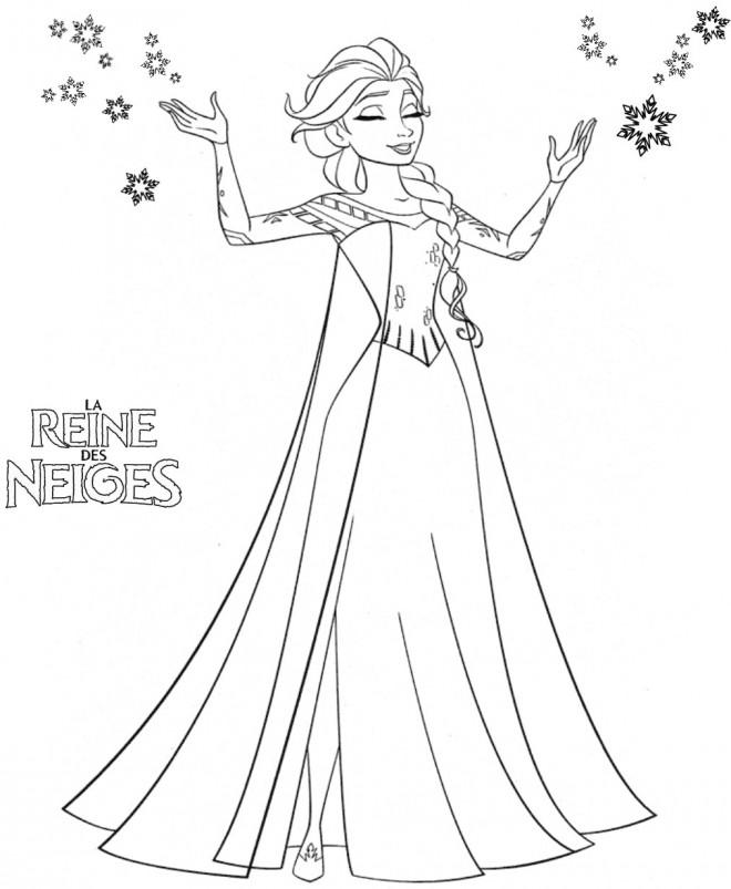 Coloriage et dessins gratuits Reine des Neiges est en serenité à imprimer