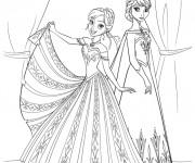 Coloriage Reine des Neiges et Anna en ligne simple
