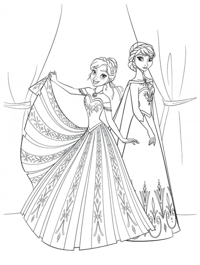 Coloriage et dessins gratuits Reine des Neiges et Anna en ligne simple à imprimer