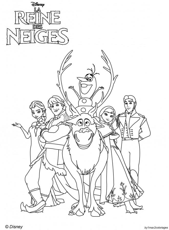 Coloriage reine des neiges et les personnages dessin - Personnage reine des neige ...