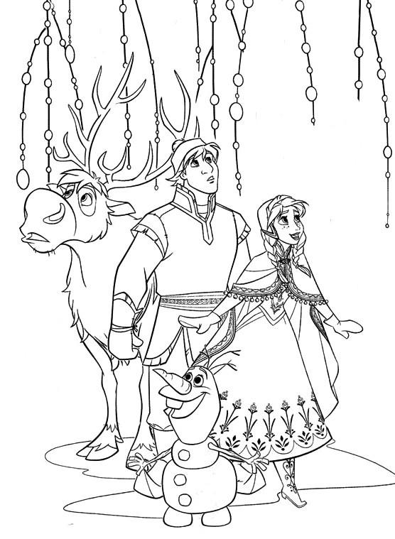 Coloriage et dessins gratuits Reine des Neiges Kristoff et Sven à imprimer