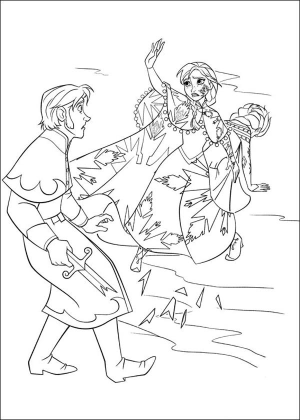 Coloriage et dessins gratuits Reine des Neiges noir et blanc à imprimer