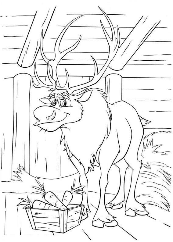 Coloriage et dessins gratuits Reine des Neiges Sven à imprimer