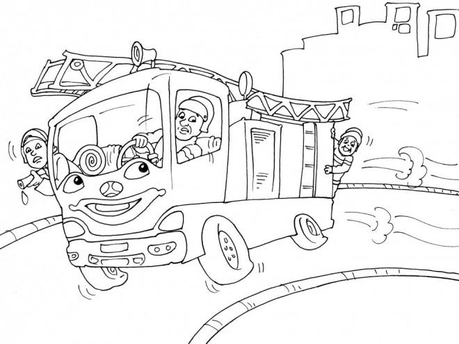 Coloriage et dessins gratuits Camion Pompier humoristique à imprimer