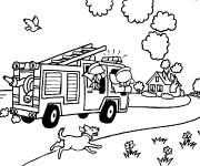 Coloriage et dessins gratuit Camion Pompier lutte contre l'incendie à imprimer