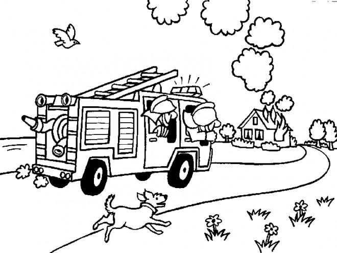 Coloriage camion pompier lutte contre l 39 incendie dessin gratuit imprimer - Dessin anime pompier gratuit ...