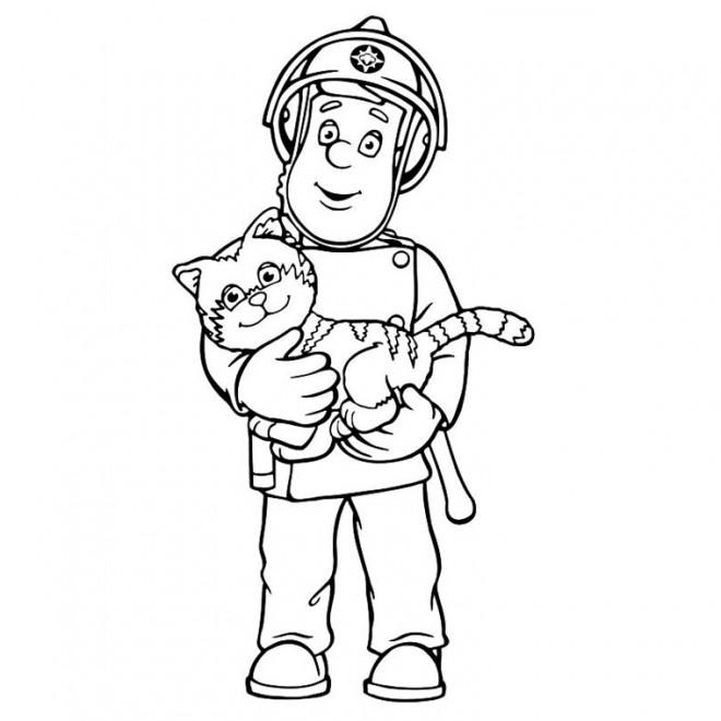 Coloriage sam le pompier 1 dessin gratuit imprimer - Dessin pompier facile ...