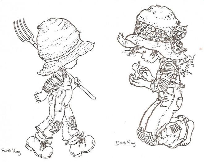 Coloriage et dessins gratuits Sarah Kay caresse  un canard dessin animé à imprimer